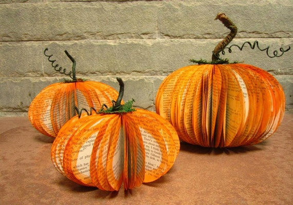 Thanksgiving Pumpkin – Eco Friendly Fall, Autumn, Halloween Décor Made From Old Up Cycled Books.