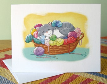 Comfy Spot 6 note cards with envelopes / blank inside / cute sleeping cat, basket of yarn / original art by Kathe Keough