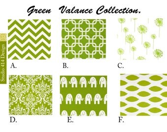 Green Valance. Green Valence.Green Window Treatment.Green Drapery .Green Valance window curtain.