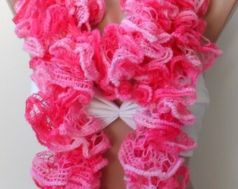 Scarf,Pink ruffle scarf, Christmas scarf, knitted scarf - Frilly scarf - neckwarmer,handmade- Pink winter scarfs, Pink scarf, Knit scarf