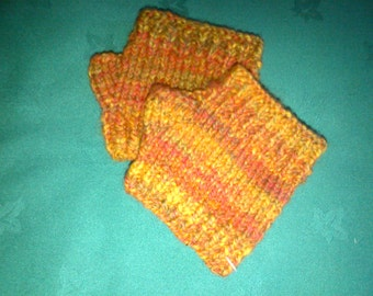 Short merino gloves - orange