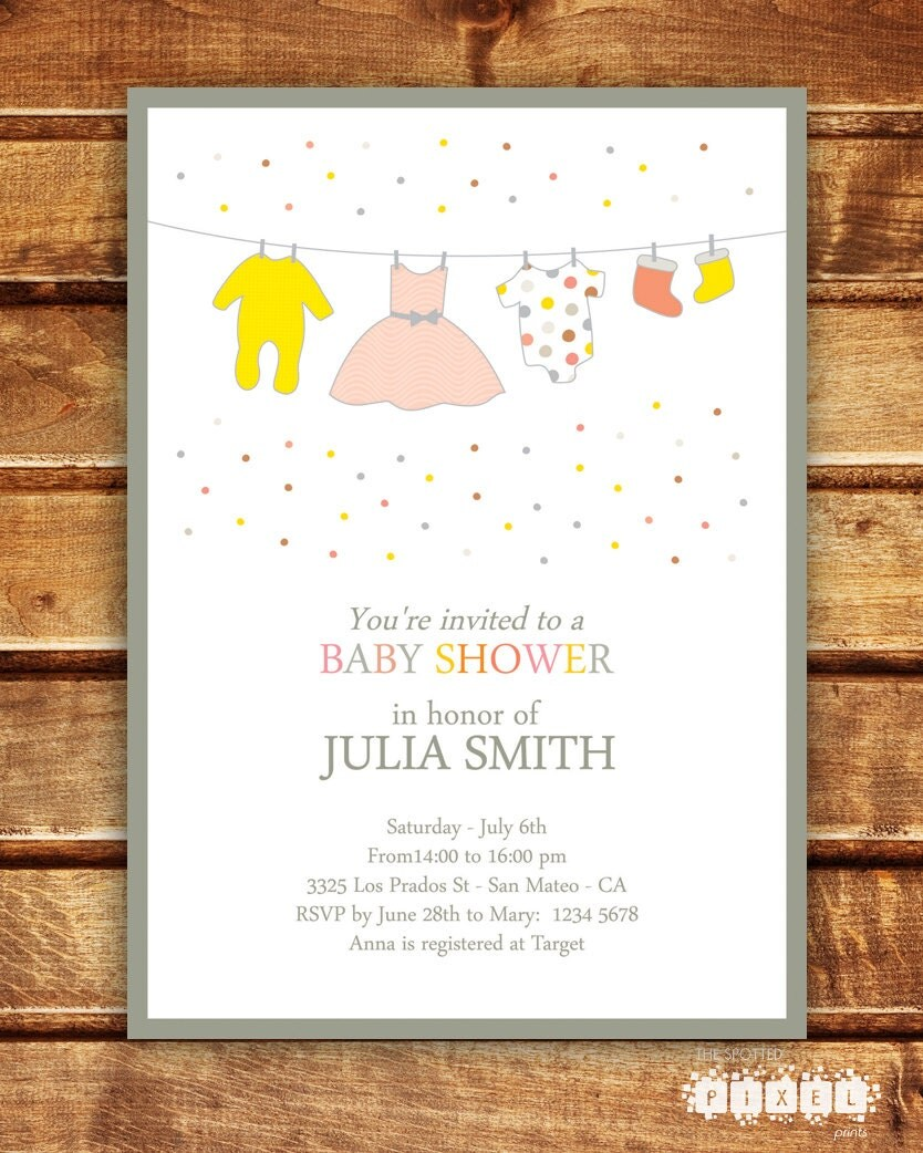 girl baby shower invitation by spottedpixel on etsy