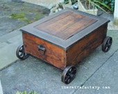 Vintage Industrial Factory Cart Coffee Table from 1880's Philadelphia tapestry mill