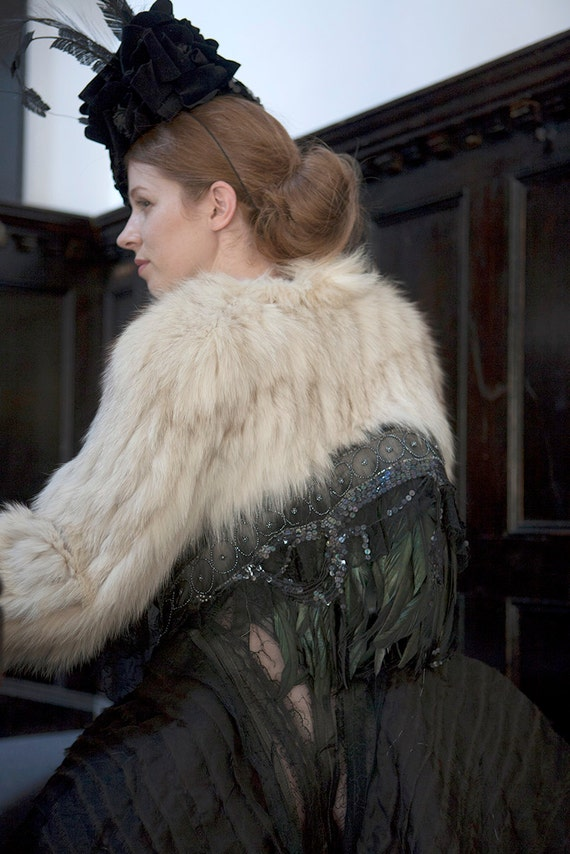 Flo White Fox fur cropped Jacket with Antique lace, feathers & vintage black beaded detail on the back.