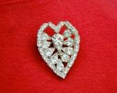 Rhinestone Pot Metal Heart Shaped Vintage Brooch
