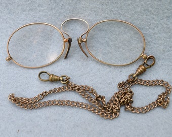 Antique Pince Nez Glasses with Chain