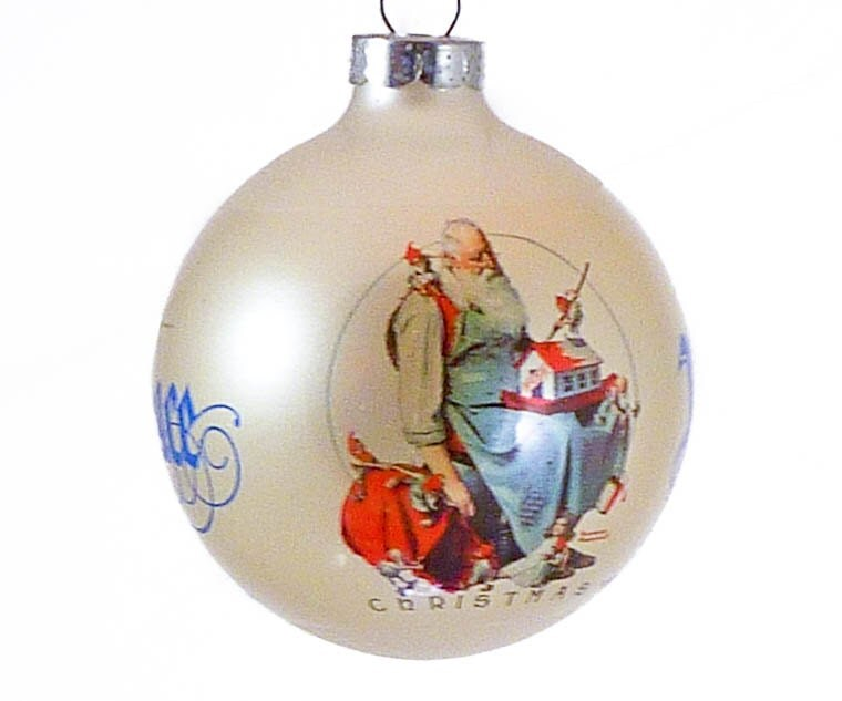 Norman rockwell saturday evening post glass christmas ornament