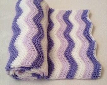 Hand crochet 3 shade ripple baby blanket
