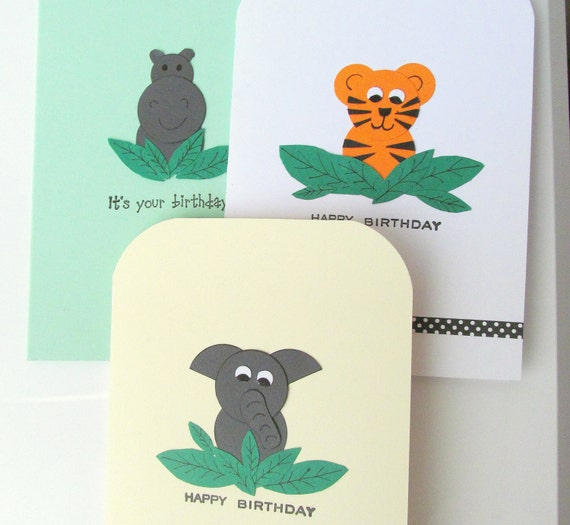 Animal birthday card set: 3 cards featuring a tiger, elephant and hippo. Handmade in the UK. Can be personalised. Perfect for children.