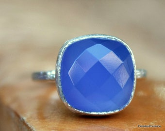 Blue Chalcedony Ring - Blue Gemstone Ring - Blue Sterling Silver - Handmade Blue Ring -