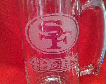 sports team mugs, 49ers mugs, Etched beer mugs, football beer mugs,Customized beer mugs, Man Cave, Christmas gifts, etched gifts