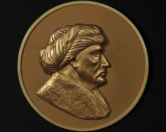 Ottoman Sultan Suleiman the Magnificent Hand Painted Reproduction bronze medallio,face wall sculpture,decorative art