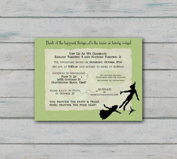 Peter pan inspired birthday invitation for Peter pan invitation template