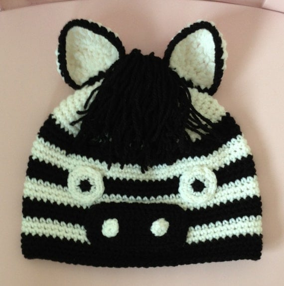 Crochet Zebra Hat : Crochet Zebra Hat - You Choose The Size - Infants, Children or Adults