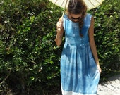 Linen and Silk Indigo Shibori Midi Dress