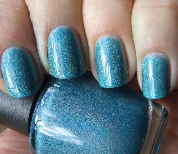 Aqua Entropy Teal Blue Holographic Nail Polish 15ml
