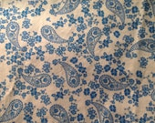 Teal blue white paisley one yard cut 100% cotton fabric for quilting, patchwork or piecing, apparel, garments, clothing, from 2004 OOP.