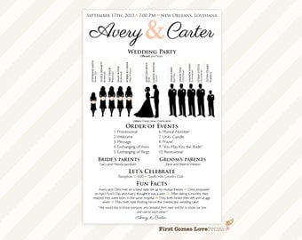 "PRINTABLE Silhouette Wedding Program • ""The Avery"" • One Sided Program • Choose Your Silhouettes • 5.5x8.5 size • Modern and Unique • Blush"