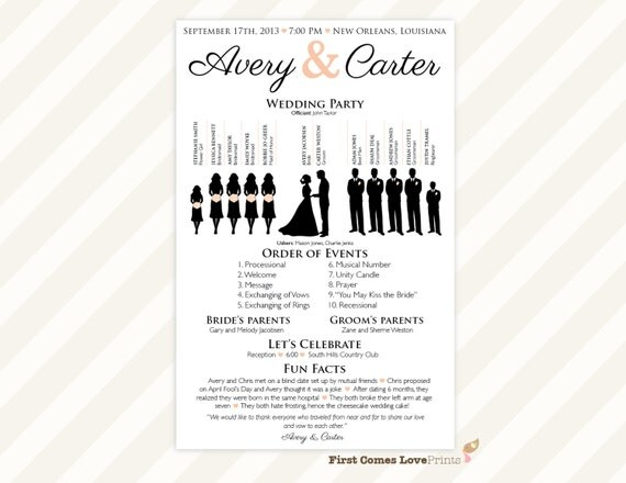 Printable silhouette wedding program the avery like this item pronofoot35fo Image collections
