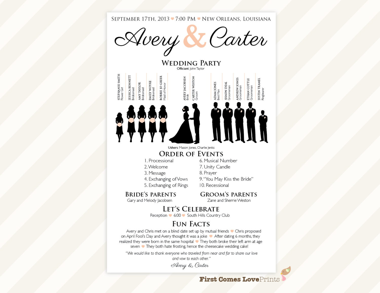 printable silhouette wedding program the avery. Black Bedroom Furniture Sets. Home Design Ideas