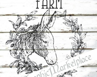 Farm Wreath Donkey Instant Download Transfer Linen Fabric digital sheet graphics printable graphic No. 596