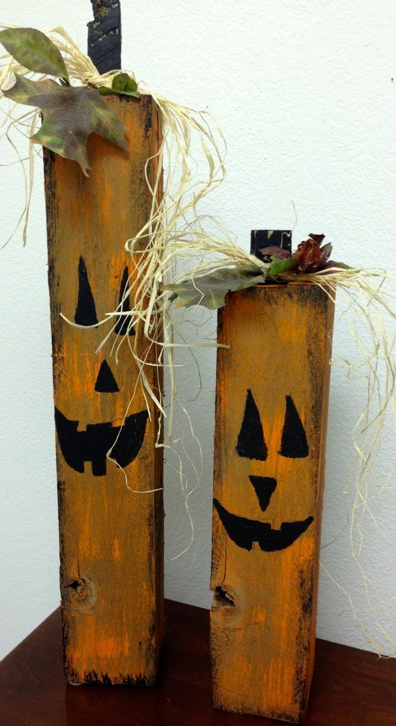 Recycled Upscaled Wood Posts Pumpkins About 22 Tall