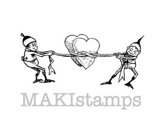 Valentine rubber stamp / Brownies capturing hearts / Heart rubber stamp   (140516)