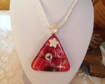Dichroic glass pendant, holiday design.