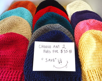 2 Crochet Slouchy Beanie - Crochet Slouchy Hat - Mens Hat - Womens Hat Trendy - Fall Hat - Winter Hat - On Sale Hats - Ready To Ship