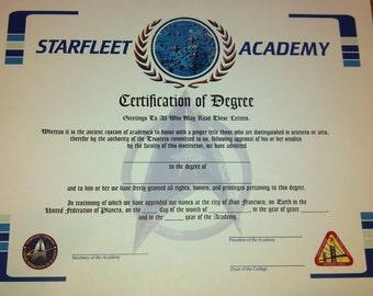 Starfleet Academy Graduation Diploma CUSTOM Star Trek