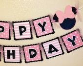 Minnie Birthday Banner polka dot stripes pink