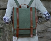 Army Green Leather-Canvas Backpack / IPAD Bag / Laptop Bag / School Bag / Women's and Men's  Bag / Travel Bag / Unisex Backpack(1831)