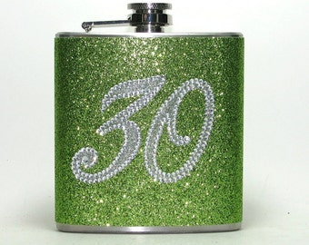 Happy 30th Birthday Rhinestone & Lime Green Sparkly Glitter 6 oz Size Stainless Steel Liquor Hip Flask Flasks