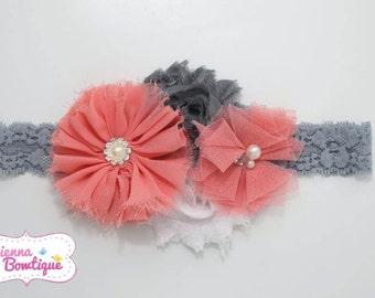Coral & Grey ballerina headband shabby headband baby girl headband shabby headband large headband