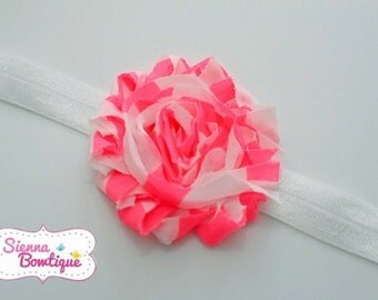 Pink Neon Chevron shabby Headband baby girl headband single headband Shabby Headband