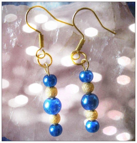 Handmade Gold Earrings with Blue Pearls by IreneDesign2011