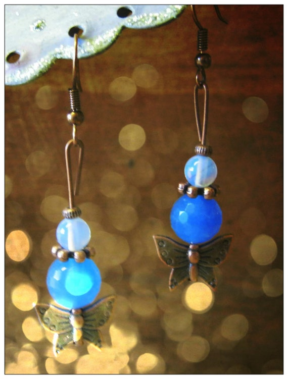 Handmade Copper Earrings with Blue Chalcedony, Opal & Butterfly by IreneDesign2011
