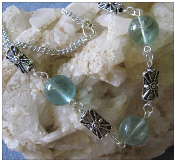 Handmade Silver Necklace with Green Fluorite by IreneDesign2011