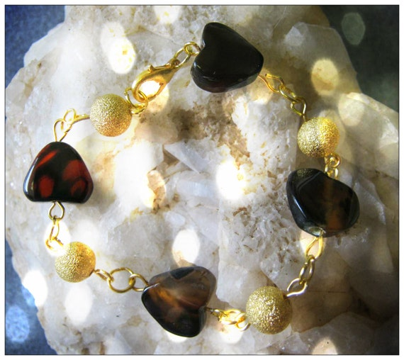 Handmade Gold Bracelet with Obsidian Hearts by IreneDesign2011