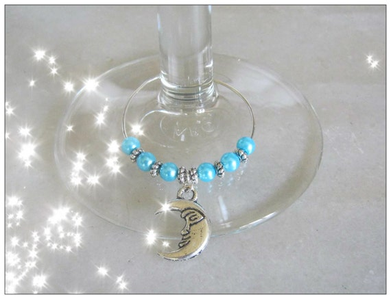Handmade Silver Wine Glass Charms with Moons by IreneDesign2011