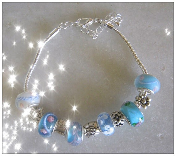 Handmade Silver Bracelet with Blue Glass Beads, European Style by IreneDesign2011