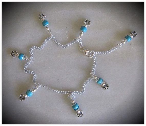 Handmade Silver Anklet with Turquoise & Butterflies by IreneDesign2011