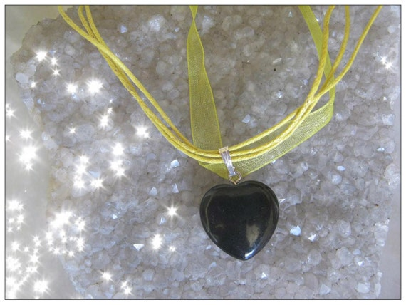 Handmade Yellow Silk Necklace with Black Onyx Heart by IreneDesign2011