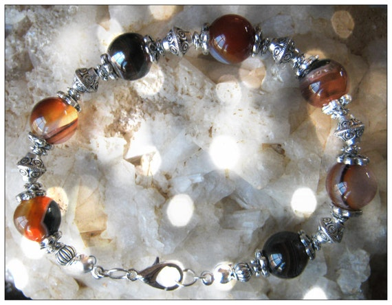 Handmade Silver Bracelet with Striped Agate by IreneDesign2011