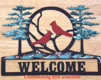 Cardinal Metal Welcome Sign