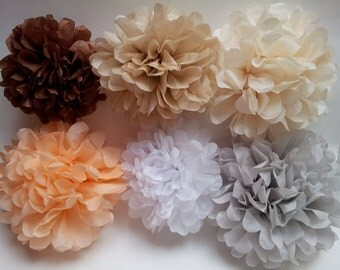 Set of 6 wedding tissue paper pom poms-tissue pom poms-tissue poms-pompoms-poms-hanging poms-party poms-paper flower-tissue paper balls