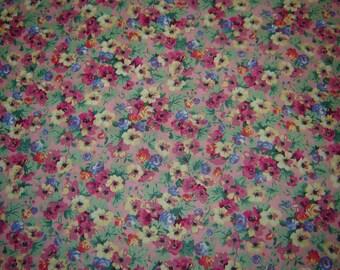 Per Yard, Flowers Pink Green Yellow Purple Fabric