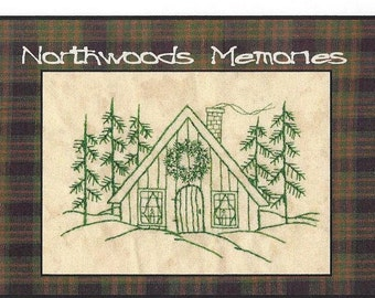 Northwoods Memories Christmas Cottage - Redwork Hand Embroidery Pattern by Beth Ritter - Instant Digital Download