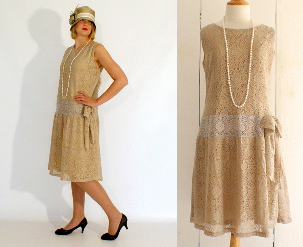 Flapper dress Great Gatsby dress old gold by ...