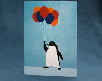 Penguin & Balloon Greeting Card